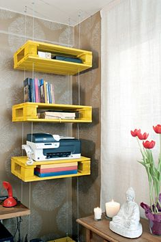 Pallets - Home office colorido, funcional e aconchegante - Revista Casa Linda