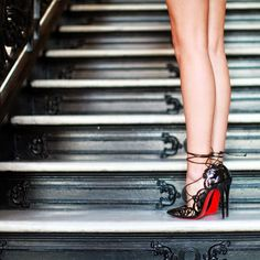 red soles, leather strings