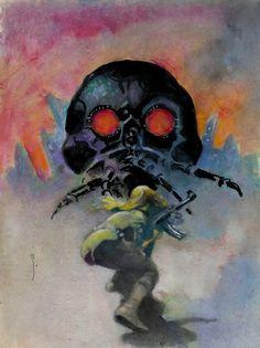 "omercifulheaves: ""Skull Machine Art by Frank Frazetta """