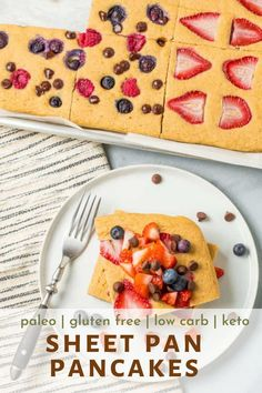These easy sheet pan pancakes are made from scratch and simply delicious! Made with fresh fruit and totally gluten free and low carb, too. #pancakes #easy #fromscratch #cleananddelicious Oven Baked Pancakes, Pancakes Easy, Breakfast Options, Breakfast On The Go, Pancake Squares, Healthy Spring Recipes, Pancake Toppings, Clean And Delicious, Coconut Flour