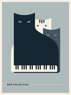 貓咪與鋼琴插畫海報設計 | MyDesy 淘靈感