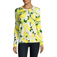 Lord & Taylor Limoncello Printed Cardigan (150 SAR) ❤ liked on Polyvore featuring tops, cardigans, white, long sleeve cardigan, button front cardigan, white ribbed top, crew neck cardigan and white long sleeve top
