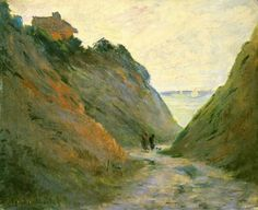 The Sunken Road in the Cliff at Varangeville, 1882 by Claude Monet. Impressionism. landscape