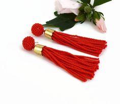 Red Tassel earrings Oscar de la renta Long earrings Statement