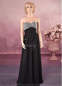 Elegant Chiffon Empire Sweetheart Long Prom Dress With Beading