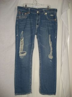 True Religion Mens Factory Destroyed Distressed Jeans 38 x 34 RN#112790 CA#30427 #TrueReligion #Relaxed