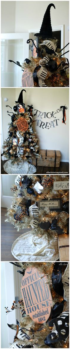 I love this fun Halloween Tree! A vintagey tinsel tree decorated with handmade and repurposed Halloween decorations.
