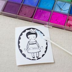 Shrink plastic, colouring stamp with pastel Shrink Paper, Shrink Art, Plastic Fou, Plastic Card, Diy Shrink Plastic Jewelry, Plastic Jewellery, Craft Booth Displays, Shrink Film, Shrinky Dinks