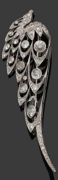 An Art Nouveau platinum and diamond wing brooch, circa 1900. 3.4 x 11.6cm. #ArtNouveau
