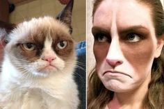 Grumpy cat Halloween makeup