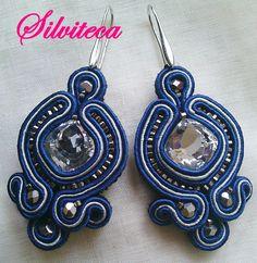 Pendientes en azul cobalto y gris perla