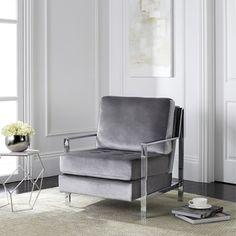 Safavieh Mid-Century Modern Walden Tufted Velvet Chrome Light Grey Accent Chair - Free Shipping Today - Overstock.com - 20044590 - Mobile