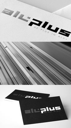 "Aluplus designs, manufactures aluminium in all types and styles for both residential and industrial or commercial uses.    The ""plus"" stands for the extra service and expertise. The plus sign was therefore incorporated in the typography of the logo. For the business cards we worked with an aluminium look. Therefore we've chosen a silver foil finishing."