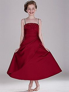 Spaghetti Strapped Ankle Length Satin Flower Girl Dress with Draping Detail - USD $49.99