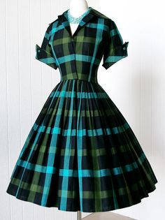 Sisjuly Plaid Mini Vintage Dress Summer Dress Green Short Sleeve Women Dress