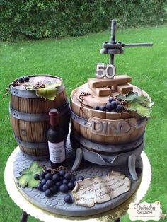 Torta torchio e botte con vino - Wine barrel cake