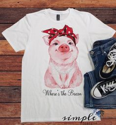 Where's the Bacon, Farm Fun Pig T-shirt, Keto, Low Carb – Simple Designs and Country Style Outfits, Country Fashion, Western Outfits, Fall Fashion, Looks Country, Farm Clothes, Estilo Country, Cow Shirt, Farm Fun