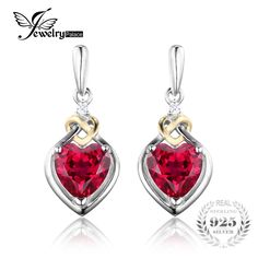 c85c1da2b7eb JewelryPalace Love Knot Heart 3.4ct Created Red Ruby Anniversary Drop  Dangle Earrings Women 925 Sterling Silver 18K Yellow Gold-in Earrings from  Jewelry ...