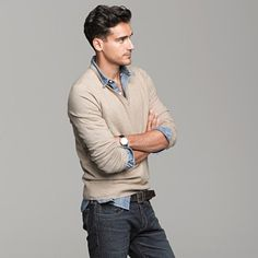 Like the v-neck and button down combination. And what's underneath it.