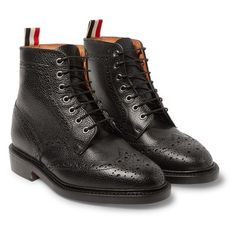 Leather Wingtip Brogue Boots