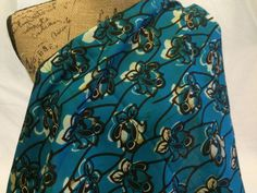 Kenyan Fabric--African Wax Print Fabric--Ankara Fabric--Turquoise, Brown, and Cream Floral Print Fabric--African Fabric by the HALF YARD by MoreLoveMama on Etsy