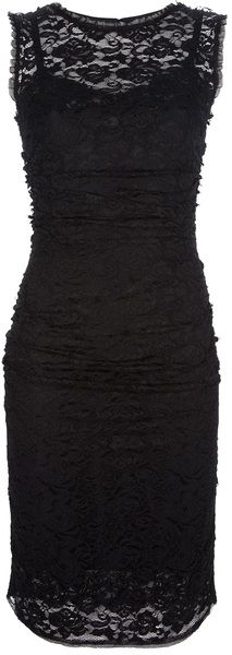 Dolce & Gabbana Lace Overlay Fitted Dress in Black | Lyst