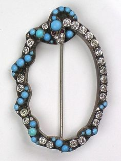 Extremely RARE Victorian Silver Paste Serpent Brooch ~ Cab Turquoise ~ Sparkles