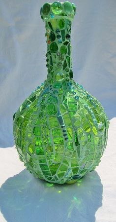 Glowing Green - mosiac vase | 33 cm tall, glass on glass mos… | Flickr