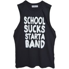 SCHOOL SUCKS MUSCLE TANK ($38) ❤ liked on Polyvore featuring tops, black cotton tank top, black singlet, cotton tank, muscle tank and black top