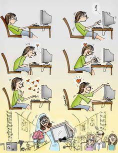Humor gráfico - ¡Flechazo!