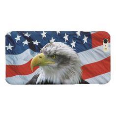 Bald Eagle American Flag Glossy iPhone 6 Plus Case