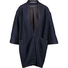Navy Marl Cropped Sleeve Jacket