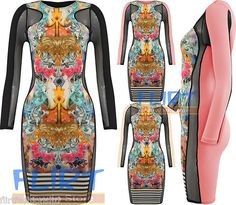 Bodycon Dress Baroque Flower Striped Mini Top Mesh Insert Stretch Womens Ladies