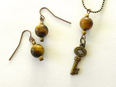 Jewelry Set  Earring and Necklace Pendant  Tigers by Studio70Seven, $35.00