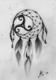 Dreamcatcher Triskel tattoo design by AnordAine