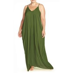 Plus Size Women's Elan Cover-Up Maxi Dress (1.050 ARS) ❤ liked on Polyvore featuring plus size women's fashion, plus size clothing, plus size dresses, olive, plus size, womens plus dresses, spaghetti strap dress, army green dress and maxi dresses