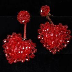 Coppola E Toppo Couture Beaded Red Hearts Drop Earrings, Italy. Lot 296