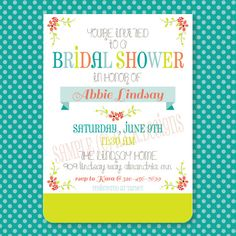 Bridal Shower Invitation-DIY Printable for 14.50 at H.L.R. Designs
