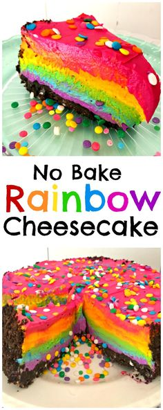 Easy recipe for a No Bake Rainbow Cheesecake with an Oreo crust that takes just a few minutes to make! So delicious and creamy, and suitable for veggies too.