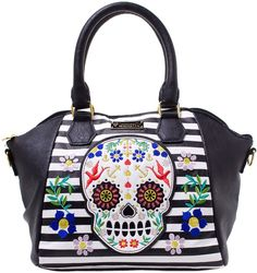LOUNGEFLY SUGAR SKULL STRIPES W/ FLOWERS CROSSBODY BAG A bright new fun bag for summer! This faux leather bag features stripes and a colorful sugar skull with embroidered flowers. It is sure to brighten up any outfit with its pops of color. This bag has short handles for easy carrying and removable adjustable strap for hands-free. It is sure to be your new favorite summer purse. $60.00 #loungefly #purse #sugarskull