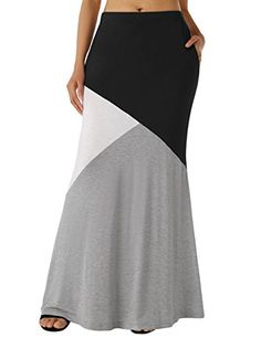 a9e397ab70 WAJAT Long Skirt Elastic Waist Womens Color Block High Waist Long Maxi Skirt  Black XL >