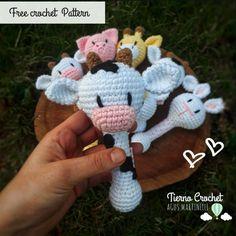 sonajero animales vaca patron gratuito amigurumi - The world's most private search engine Crochet Teddy, Crochet Patterns Amigurumi, Crochet Hooks, Crochet Baby, Free Crochet, Single Crochet Stitch, Basic Crochet Stitches, Crochet Basics, Diy Crafts To Do