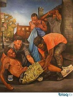 """I nicknamed this painting """"Urban Pietà"""". It's reminiscent of the Old World, European Pietà scene portraits. African American Artwork, African American History, African Art, African Beauty, Black Art Painting, Black Artwork, Black Love Art, Black Girl Art, Black Man"""