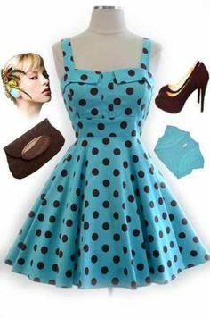 50s Style AQUA & Brown POLKA DOT Bombshell PINUP Full Skirt Sun Dress