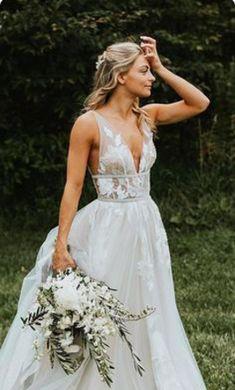 27 Chic Bridal Dresses: Styles & Silhouettes ❤ bridal dresses boho a line dee. 27 Chic Bridal Dresses: Styles & Silhouettes ❤ bridal dresses boho a line deep v neckline floral Wedding Robe, Sexy Wedding Dresses, Bridal Dresses, Wedding Gowns, Bridesmaid Dresses, Maxi Dresses, Elegant Dresses, Summer Dresses, Boho Chic Wedding Dress
