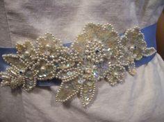 Bridal sash belt Something blue by calla318 on Etsy, $48.00