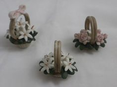Vintage Capodimonte 3 Mini Porcelain Baskets Pink n White Flowers Made in Italy