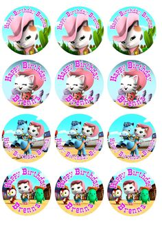 """Edible Cupcake Toppers Sheriff Callie 12 Toppers 2.5"""""""