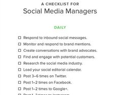 Checklist for social media managers. Social Media Marketing, Digital Marketing, Journalism, Ecommerce, Improve Yourself, Editorial, Ebooks, Management, Messages