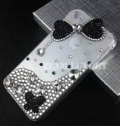 3D Black Diamond Bow Bling Crystal Case Cover for Iphone 4 & 4s Made w/ Swarovski Elements